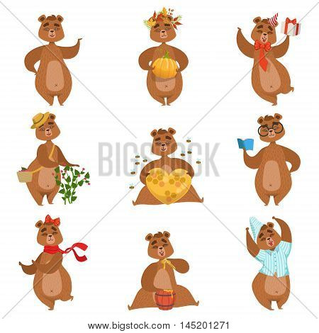 Brown Bear Different Activities Set Of Girly Character Stickers. Humanized Animal In Funny Situations Childish Cartoon Cute Illustrations On White Background.