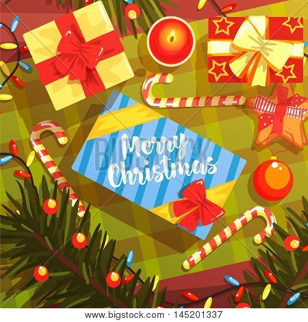 Christmas Presents Colorful Illustration With Classic Holiday Symbols Collection. Merry Christmas Classic Elements View From Above Drawing In Bright Colors.