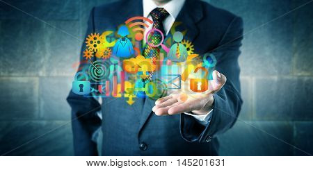 Man offering a cloud infrastructure solution made of a host of colorful managed services icons. Information technology concept for desktop virtualization digital transition and MSP as facilitator.