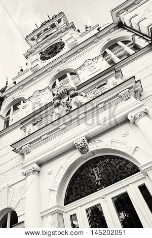 Detail photo of Beautiful Budmerice castle in Slovak republic. Architectural theme. Black and white photo. Cultural heritage. Beautiful place. Travel destination.