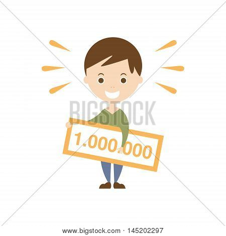 Winning Lottery As Personal Happiness Idea. Man Holdin Lottery Prize Cheque Simple Flat Cartoon Vector Illustration On White Background