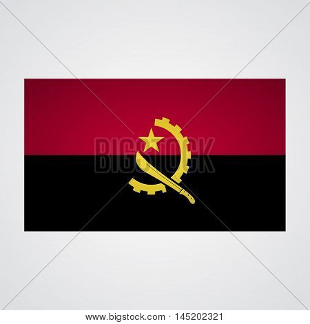 Angola flag on a gray background. Vector illustration