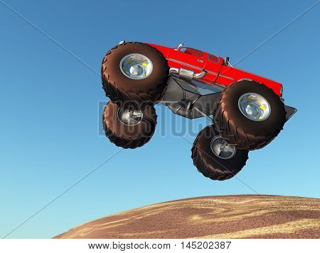 Computer generated 3D illustration with a flying monster truck against a blue sky