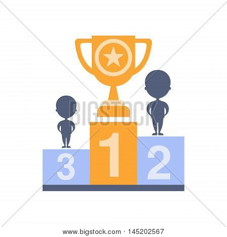 Winning As Personal Happiness Idea. Platform With Cup On First Place Simple Flat Cartoon Vector Illustration On White Background