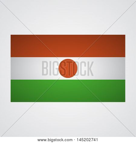 Niger flag on a gray background. Vector illustration