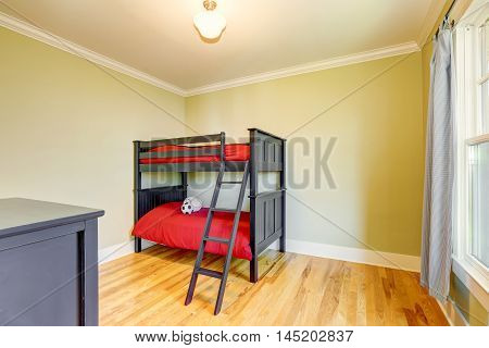 Empty Boys Bedroom With Black Bunk Bed.