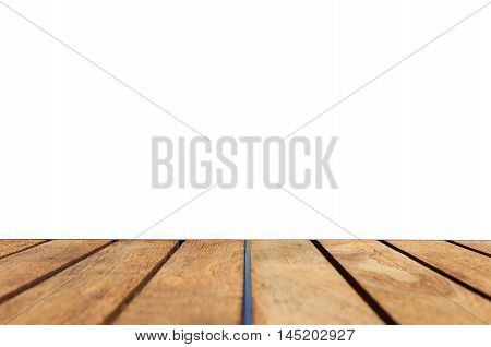 Top Of Teak Wood Table Isolated On White Background