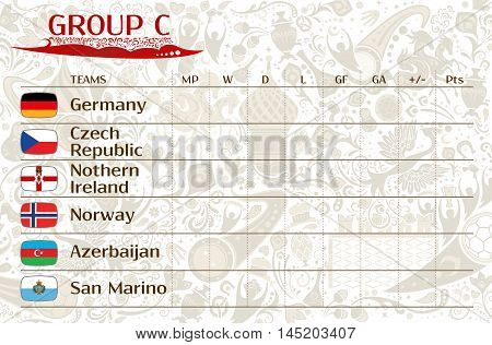 Football world championship 2018 European qualifiers matches group C table of results vector template