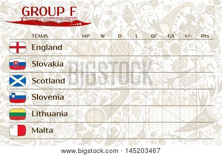 Football world championship 2018 European qualifiers matches group F table of results vector template