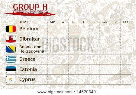 Football world championship 2018 European qualifiers matches group H table of results vector template
