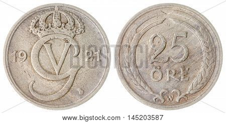 25 Ore 1921 Coin Isolated On White Background, Sweden