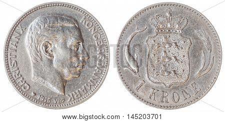 1 Krone 1915 Coin Isolated On White Background, Denmark
