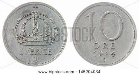10 Ore 1944 Coin Isolated On White Background, Sweden