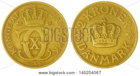 2 Krone 1925 Coin Isolated On White Background, Denmark
