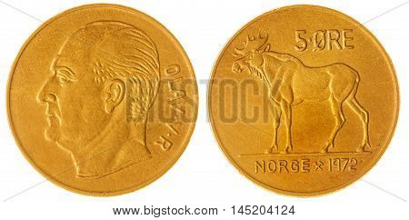 5 Ore 1972 Coin Isolated On White Background, Norway