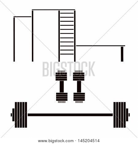 Vector illustration logo for a sports equipment.Isolated the drawing consists of a barbell dumbbells horizontal bars beams stairs closeup on white background.Icon for sports health records athletes.