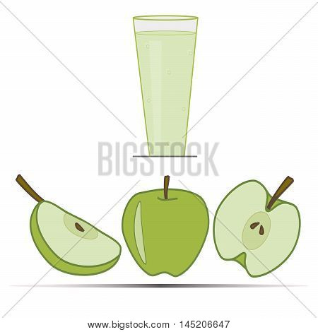 Vector illustration the logo for apple. Isolated drawing that consists of glass of freshly squeezed fresh green apple half  fruit ripe a quarter of the vitamins close-up. The icon for the bar cafe.