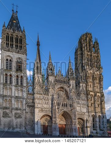 Rouen Cathedral is a Roman Catholic Gothic cathedral in Rouen Normandy France. Main facade