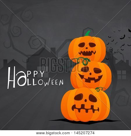 Scary Pumpkins (Jack-o-Lanterns) and haunted house, Creepy background for Happy Halloween Party.