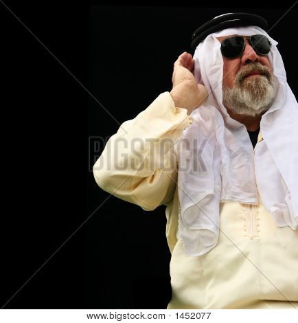 Middle East Man Holding His Ear
