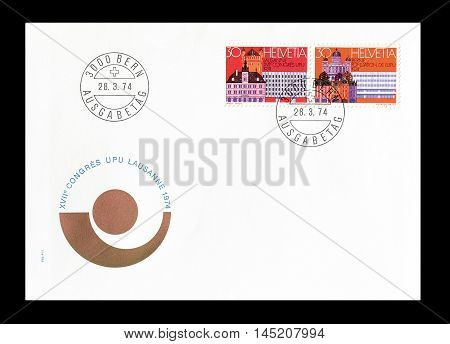 SWITZERLAND - CIRCA 1974 : Cancelled First Day Cover letter printed by Switzerland, that shows Lausanne and Bern.