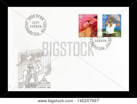 SWITZERLAND - CIRCA 1981 : Cancelled First Day Cover letter printed by Switzerland, that shows Europa CEPT stamps.