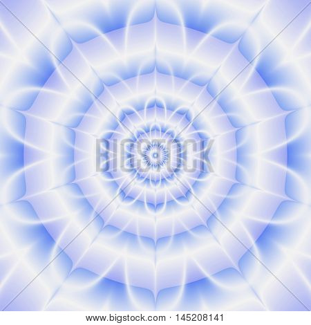 Abstract blue and white winter background of concentric circles resembling stylized flower. Blue and white circular background with transparent scalloped swirling lines