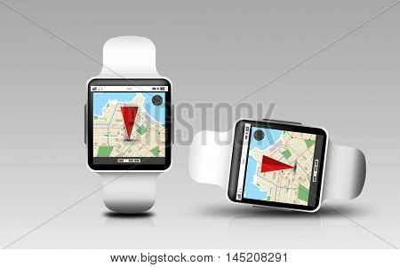 modern technology, navigation, location, object and responsive design concept - smart watches with gps navigator map on screen over gray background