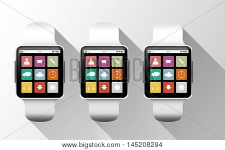 modern technology, application, object and media concept - close up of black smart watches with app icons on screen over gray background