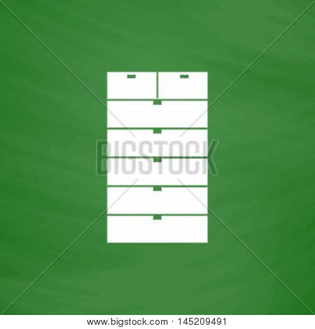 Drawer. Flat Icon. Imitation draw with white chalk on green chalkboard. Flat Pictogram and School board background. Vector illustration symbol