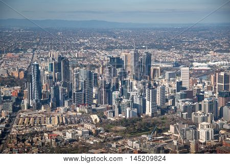 MELBOURNE, AUSTRALIA - JULY 16, 2016 : Aerial view of Modern building in Melbourne city, Melbourne is the capital and most populous city in the Australian state of Victoria, Australia.
