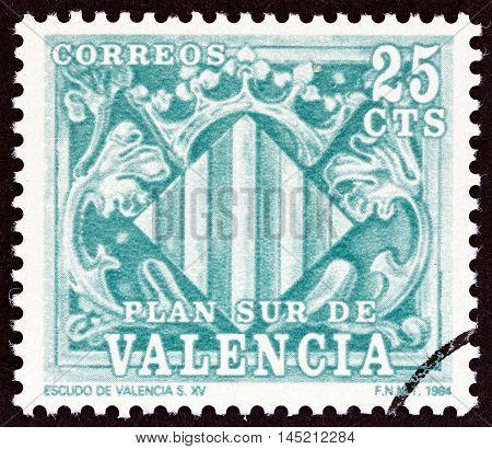 VALENCIA - CIRCA 1984: A stamp printed in Spain shows Shield of Valencia 15th century, circa 1984.