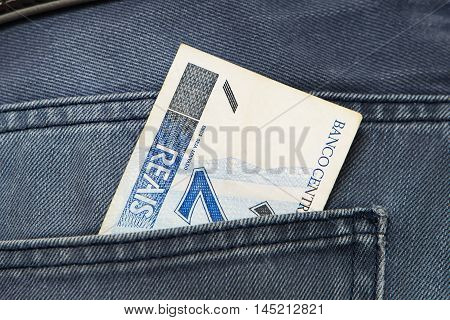 Brazilian papper currenc, Real, in Jeans Pocket