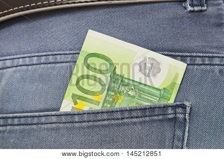 European paper currency, hundred euros in jeans Pocket