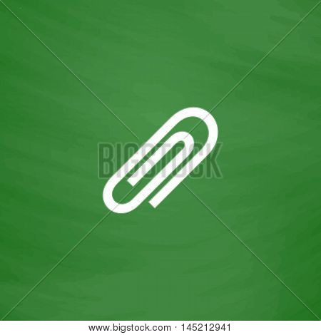 Paper clip. Flat Icon. Imitation draw with white chalk on green chalkboard. Flat Pictogram and School board background. Vector illustration symbol