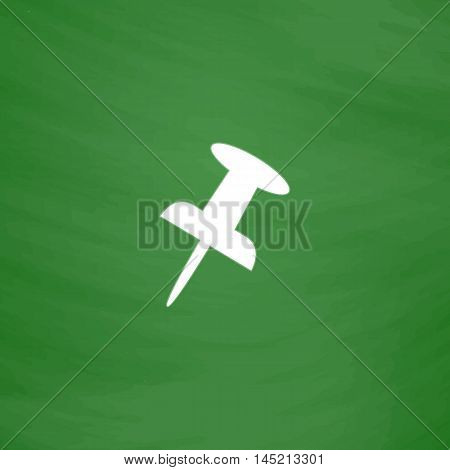 Push pin. Flat Icon. Imitation draw with white chalk on green chalkboard. Flat Pictogram and School board background. Vector illustration symbol