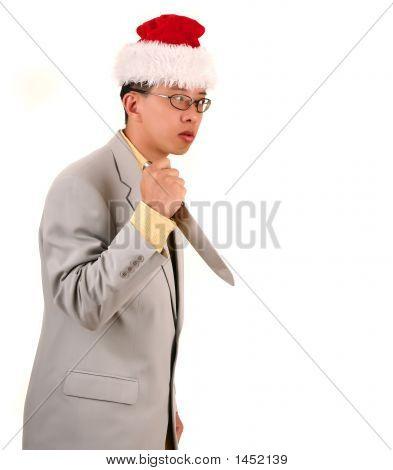 Santa Biz Man Holding Knife