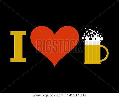 I Love Beer. Sign Of Heart And Mug Of Alcoholic Beverage With Foam. Logo For Drinkers