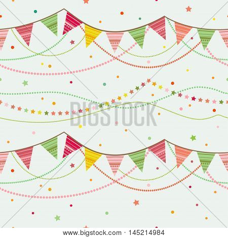 Party pennant bunting. Party seamless background. Vector illustration