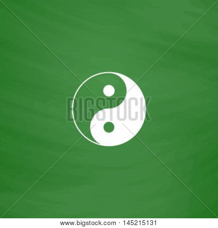 Ying yang symbol of harmony and balance. Flat Icon. Imitation draw with white chalk on green chalkboard. Flat Pictogram and School board background. Vector illustration symbol