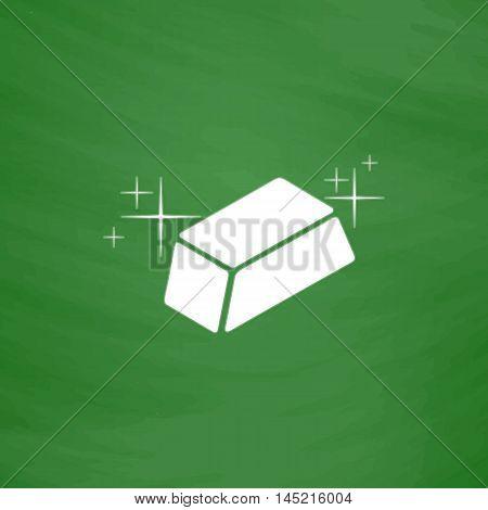 Gold bullion. Flat Icon. Imitation draw with white chalk on green chalkboard. Flat Pictogram and School board background. Vector illustration symbol
