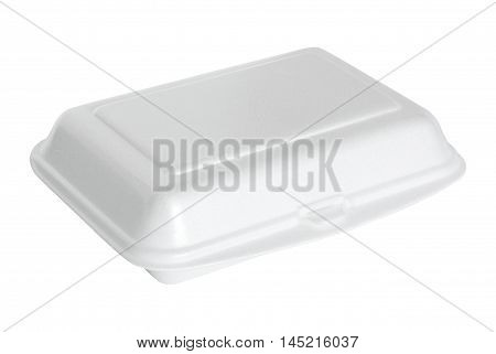 White Styrofoam Box Isolated On White With Clipping Path