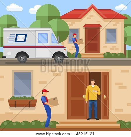 Post service concepts with transportation of parcels and delivery to client isolated vector illustration