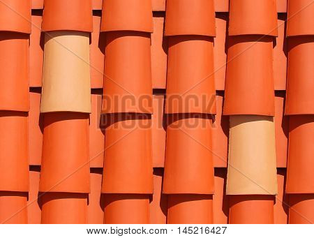 Two similar roof tiles among many different ones.