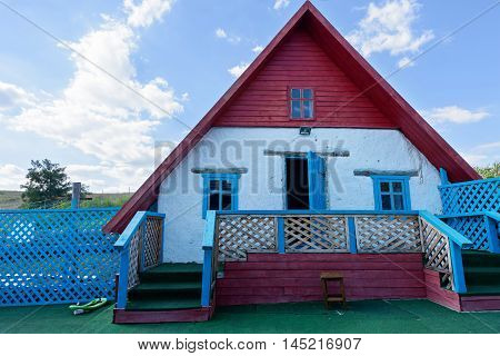 Small house from clay, traditional building in Moldova