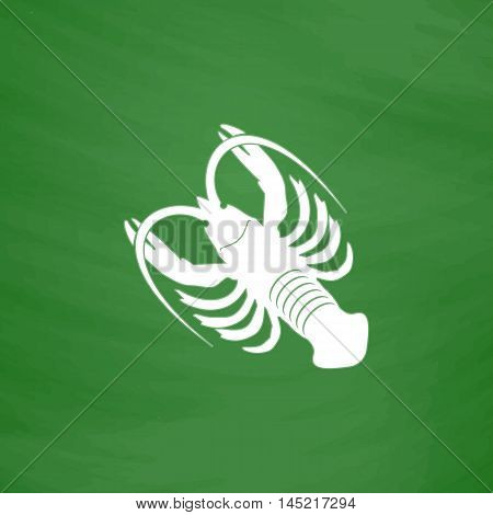Crawfish. Flat Icon. Imitation draw with white chalk on green chalkboard. Flat Pictogram and School board background. Vector illustration symbol