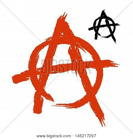 Anarchy Symbol Grunge Style. Sign Of Disorder And Chaos. Emblem Of Arbitrariness And Lack Of State P