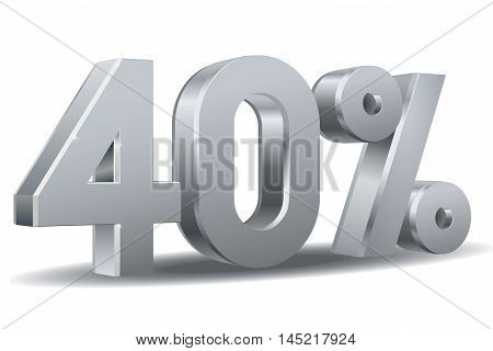 Vector of 40 percent in white background
