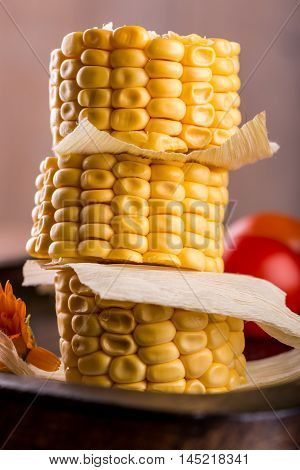 Few Portions Of Sweet Corn On A Stack