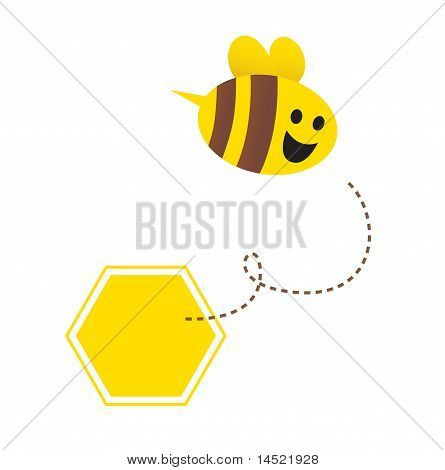 Little flying honey bee ( with yellow and brown stripes )